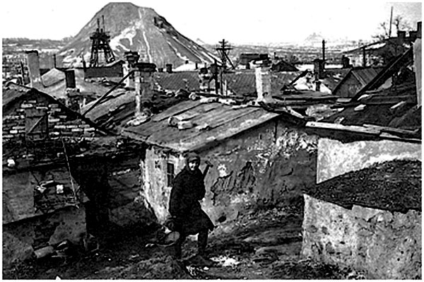 Stalino-city, working outskirts, 1945 (coal mine in the background)
